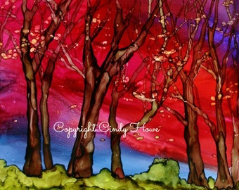 Digital art, digital download, landscape, alcohol ink, trees, sky, sunset, All Hallows Eve, red sky at night