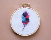 Feather Embroidery, Hoop Art, Rustic Bohemian Farmhouse Decor, Boho Feather, Bright Pink and Purple, Spring Summer, Wall Art, Handmade Art