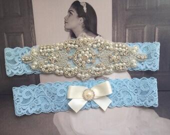 Wedding Garter, Bridal Garter, Garter Set - Crystal Rhinestone & Pearls on a Stretch Lace
