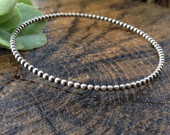 Contemporary Sterling Silver Beaded Bangle. Round Beaded Wire Bangle. Closed Silver Bracelet. Stacking Bangle. Made to Order in Your Size.
