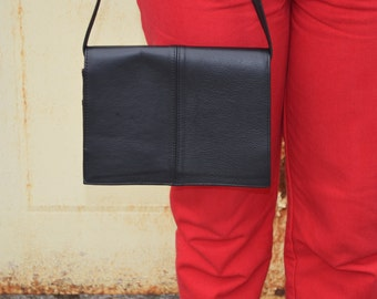Women's Black Purse, Vintage Black Handbag, Handmade Leather Purse, Ladies' Pocketbook, Black Vintage Bag