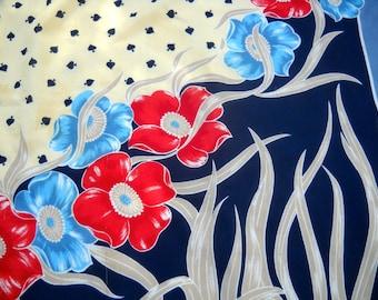 Designer Scarf, Vintage Valentina Fiore, Beautiful Floral Design