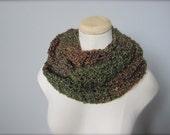 Crochet Dark Green, Hunter Green, Brown, Deep Plum, Multicolor, Earth Tone Infinity Scarf, Men's Scarf, Women's Scarf, Unisex Scarf