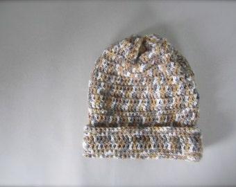 Crochet Brown Beige Mocha White Grey Gray Earth Tone Multicolored Slouchy Hat, Beanie Hat, Adult Hat