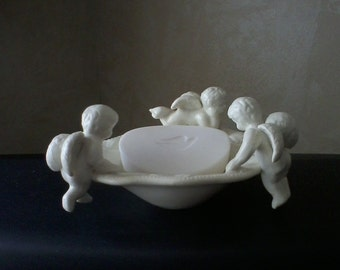 White Cherub Dish