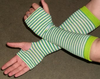 Green Striped Cute Fingerless Glove Arm Warmers