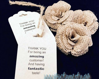 Thank you Customer Tags!  Hang Tags, Thank you Tags, CUSTOM Hang Tags / 100 Strings Included - Price Tags