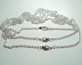3 pcs - Matte silver plated 18 inch fine rope Neckchains - m300/18