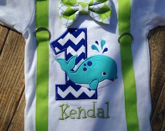 Boys whale birthday bodysuit or shirt with suspenders and bow tie