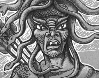 Medusa, Ray HarryHausen, Tribute Fan Art, Clash of The Titans, Pen and Ink, Comic Art, Greek God