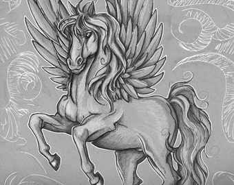 Pegasus, Ray HarryHausen, Tribute, Fan Art, Clash of The Titans, PRINT