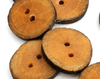 12 pcs Platanus / London Plane Tree Wood Buttons Small 1 inch (24-25 mm) natural handmade wooden tree branch buttons