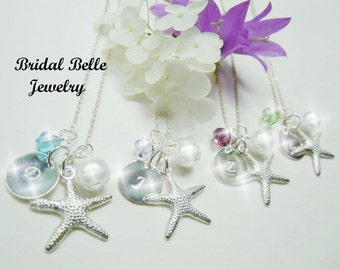 Beach Wedding Jewelry Personalized Birthstone Bridesmaid Necklaces Wedding Jewelry Starfish Necklace Destination Wedding Jewelry