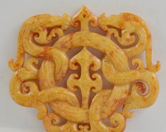 Unique Antique Style Large Carved Yellow Jade Pendant Old Dargon 62-72mm Gemstone bead Amulet Talisman Jade Pendant  Double face Corved