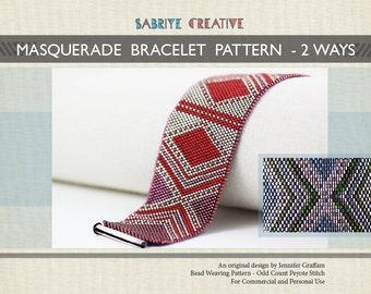 Peyote Bracelet Pattern - MASQUERADE Bracelet in Two Color Ways - Digital Download
