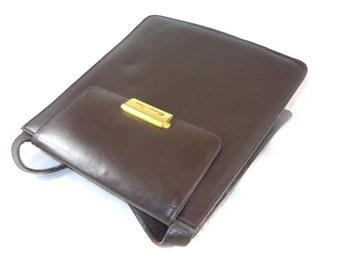 Brown glossy leather envelope bag - shoulder handbag purse, gold trim Couro Fino