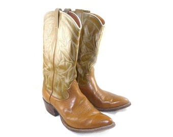 STUNNING Caramel brown leather cowboy boots - near perfect Nocona - short / mid calf / glossy leather, 9.5 9 Ladies / 7.5 8 D mens narrow
