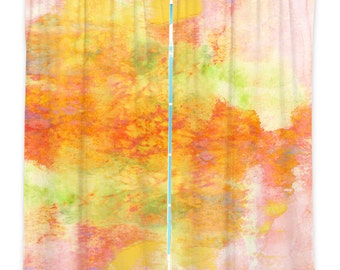 PASTEL Orange Pink Peach Green Art Window Curtains Multiple Size Abstract Nature Watercolor Decor Bedroom Kitchen Lined Unlined Woven Fabric