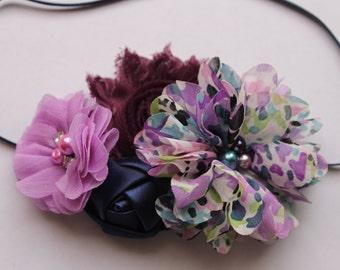 Purple, Plum and navy chiffon baby headband, baby headband, newborn headbands, flower headbands, coral headband, photography prop