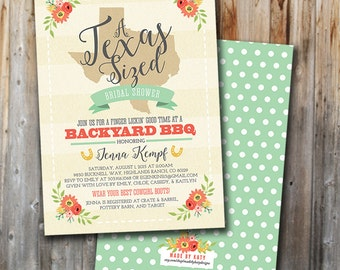 BBQ Bridal Shower Invitation: Texas Sized, Wedding Shower, Custom, Printable, Double Sided