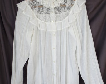 70s vintage French made ivory Victorian style cotton muslin + lace blouse/Harry-Laure Paris Creations/steampunk: fits M/L