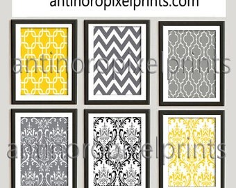 Damask Vintage / Modern inspired Art Prints Collection -Set of 6 - 8x10 Prints  - Featured in Golden Yellow Grey  (UNFRAMED)