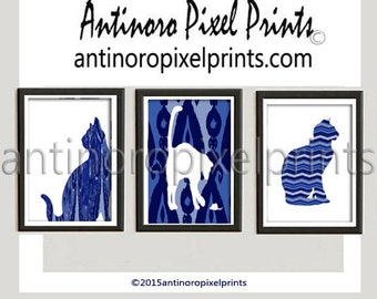 Navy Indigo Ikat Cat Silhouette Wall Art Pictures Custom Colors Available -Set includes 3 - 8 x 10 Prints  (UNFRAMED) #236884440