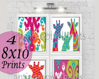 Multi Color Children Orange Turquoise Fuchsia Chartreuse Giraffe Ikat Wall Art - Set of (4) - 8x10 Prints - (UNFRAMED) #183152194