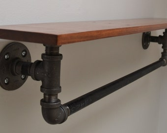 Reclaimed Wood and Pipe Towel Rack