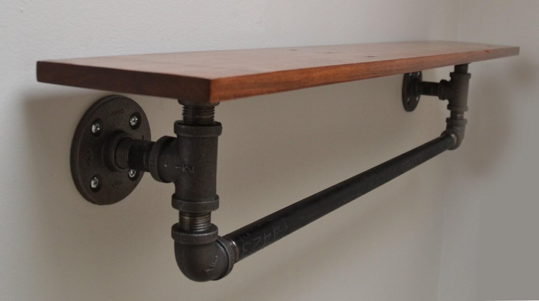 reclaimed wood and pipe towel rack. Black Bedroom Furniture Sets. Home Design Ideas