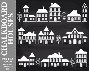 Chalkboard Houses Clip Art - City, Home, Tree, Town, House, Houses Chalkboard Clip Art for Commercial and Personal Use