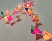 Pyramid Lantern Garland - BE HERE NOW - handmade psychedelic fairy lights with color spectrum bands, magenta, navy, emerald, and cream