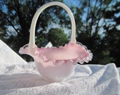 Beautiful Vintage Fenton Glass Peach Crest Pink White Basket / NOT INCLUDED In Any Discount or Couon Sales