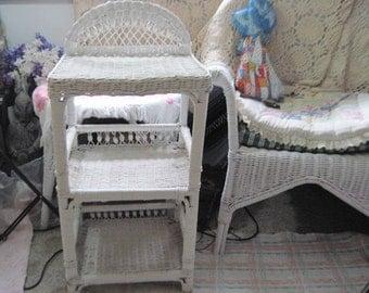 Wicker White Shelf, Chippy, Country  Wicker Shelf, Country Home Decor, Farm House Decor, Vintage Home Decor, Home Decor, Storage  :)S