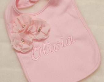 Personalized Pink Bib Baby Girl Bib Embroidered with  with Chiffon Flowers