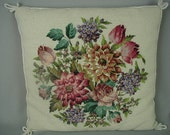"""Vintage Needlepoint Pillow, Gorgeous Floral Bouquet, Multi-Color Flowers, 17"""" Square"""