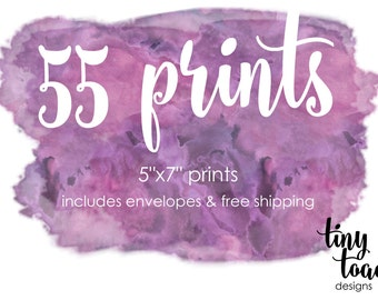 "55 PRINTS - on 100lb. matte cardstock with white envelopes and FREE Shipping (5""x7"" prints)"