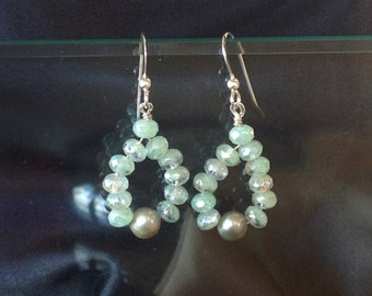 Light Green & Glass Earrings