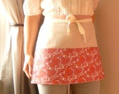 Pretty in pink paisley half apron - gardeners apron, craft apron, bistro apron