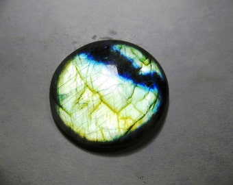Natural Labradorite Cabochon  Full Flashy Amazing Fire Good Quality Round Shape Size 37X37 mm Approx