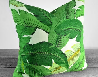 Banana Leaf - Palm Pillow Cover - Shades of Green on Ivory - Pick Your Size