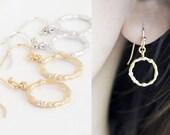 Tiny Twig Hoop Dangle Earrings, Gold / Silver, Woodland Wedding Jewelry, Bridesmaid Gift, wj