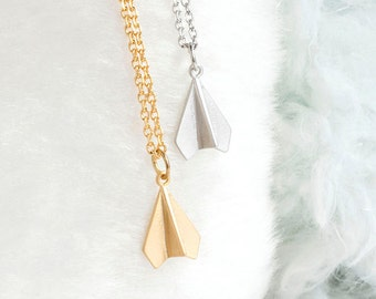 Tiny Paper Airplane Necklace, Gold / Silver, Origami Aeroplane Charm, Whimsical Bridesmaid Girlfriend Gift, ej