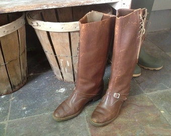 Antique Chestnut Brown Leather Equestrian Riding Boots Size 7  7,5 US
