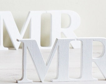 White Wedding Sign MR & MRS, Wooden letters table decor, Wedding gift