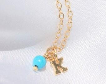 Super Dainty Initial Bracelet / Delicate Bracelet / Tiny Turquoise / 14k Gold Fill / Tiny Initial Bracelet / Monogram Bracelet/ Friendship .