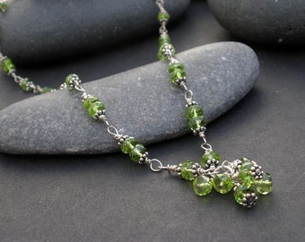 Natural Gemstone Peridot Faceted Rondelle 5.5mm, Peridot Cluster Pendant -925 Sterling Silver Wire Warpped Pendant Necklace