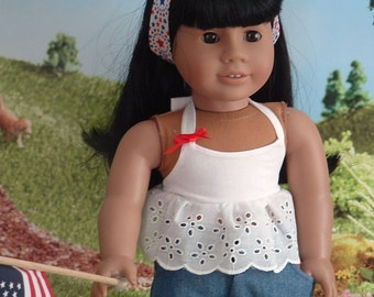 White Eyelet Summer Top and Cuffed Denim Shorts for American Girl