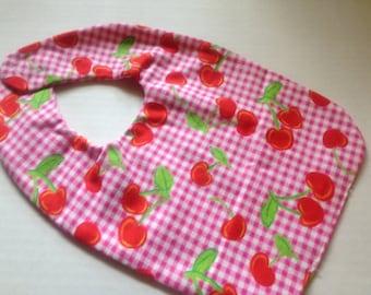 red cherry's, baby bib (BR)
