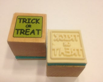 small trick or treat rubber stamp, 20 mm (R8)